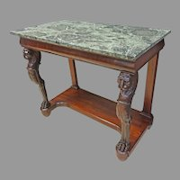 Mahogany Pier or Hall Table with Green Marble