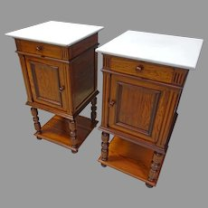 Pair of Marble Top End Tables or Night Stands