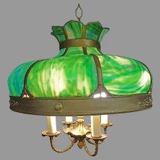 Green Slag Glass Hanging Light