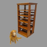 Large Oak Arts & Crafts Revolving Bookcase