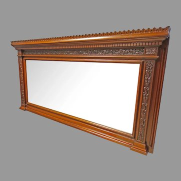 Carved Beveled Over Mantle Mirror