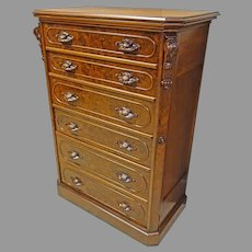 Victorian Walnut Lock-Side Chest of Drawers