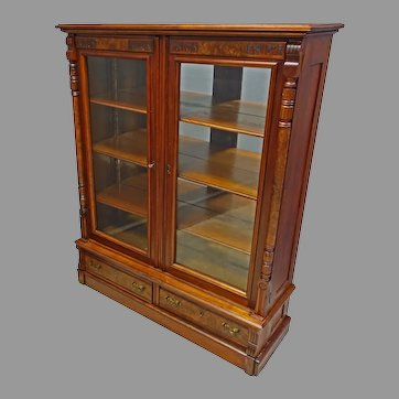 Walnut Victorian Bookcase