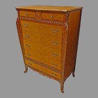 French Louis XV Style Satinwood Tall Chest