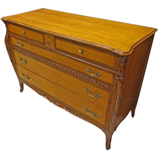 French Louis XV Style Satinwood Chest of Drawers