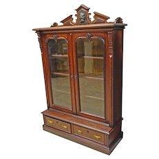 Walnut 2 Door Victorian Bookcase with Carved Portrait, Possibly Beethoven