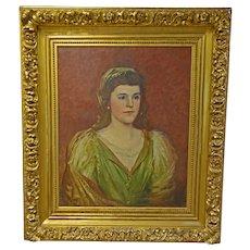 Portrait Oil Painting in Ornate Gold Gilt Frame
