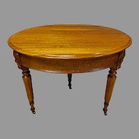 Small Round Walnut Dining Table, Expands to 11.5 feet