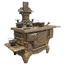 ACME Toy Child's Wood Cook Stove, Cast Iron w. Cookware