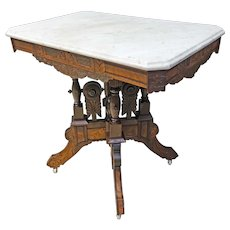 Marble Top Eastlake Victorian Table