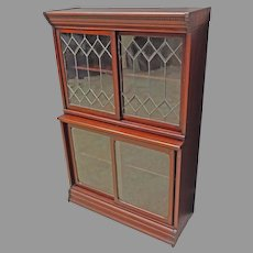 Mahogany Bookcase with Leaded Glass Doors by Danner