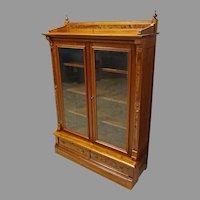 Walnut Eastlake Victorian 2 Door Bookcase
