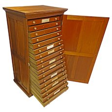 Walnut Map or Collector's Cabinet or File Drawers
