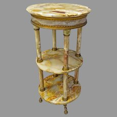 Outrageous Brass & Onyx Pedestal or 3 Tier Stand