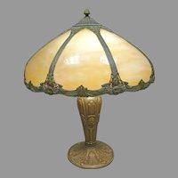Silvered Art Nouveau Slag Glass Table Lamp