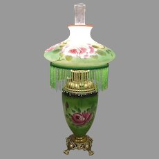 Victorian Green Parlor Lamp with Hand Painted Roses & Glass Beads