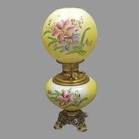 """Yellow Hand Painted """"Gone with the Wind"""" Victorian Lamp"""