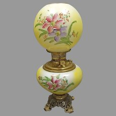"Yellow Hand Painted ""Gone with the Wind"" Victorian Lamp"