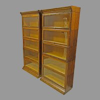 Pair of Oak Hale Barrister Bookcases