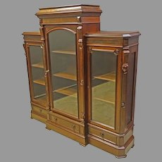 Walnut Victorian 3 Door Bookcase with Adjustable Shelves
