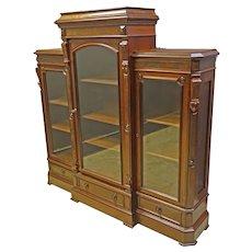 Walnut Victorian 3 Door Bookcase with Adjustable Shelves