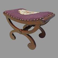 Mahogany Empire Vanity Bench with Needlepoint
