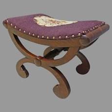 Mahogany Empire Vanity Bench with Needlepoint