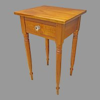 PA Sheraton Tiger Maple One Drawer Stand or End Table