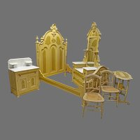 Marble Top Painted Cottage 5 pc. Bedroom Set, Victorian