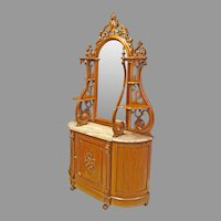 Victorian Walnut Marble Top Etagere or Hall Mirror or Buffet/Server or Entryway Cabinet