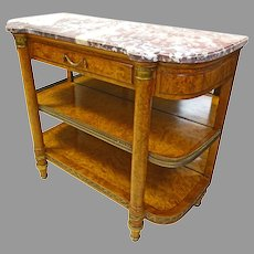 French Marble Top Server with Bronze Accents