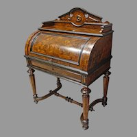 Victorian Cylinder Desk with Petra Dura and Hidden Drawer