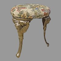 Victorian Cast Iron Stool with Angels or Cherubs