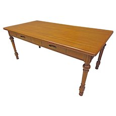 Large Walnut Dining Table or Desk with Drawers