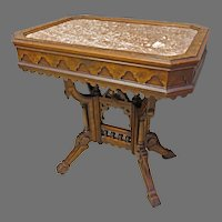 Eastlake Victorian Picture Frame Brown Marble Top Table