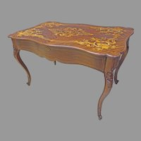 Inlaid Mahogany Writing Desk with Mother of Pearl