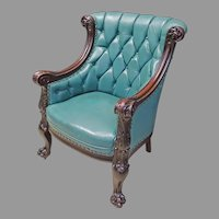 Carved Victorian Armchair with Green Leather Looking Upholstery