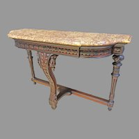 Victorian Marble Top Hall Table, Renaissance Revival Period Console