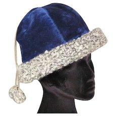 Edwardian Blue Velvet Skating Tam Vintage Hat