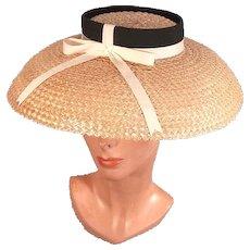 Fabulous 1950's Vintage Cartwheel Lampshade Style Hat