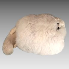 Extraordinary Edwardian Vintage Large White Fox Fur Hand Muff