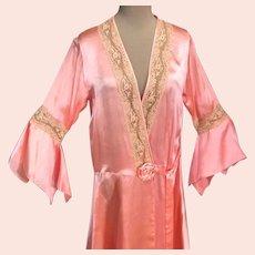 Glamorous 1920s Drop Waist Pinkish Peach Silk Peignoir