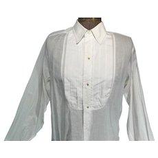 Vintage 1930s Mens White Cotton Tuxedo Shirt