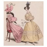 1830s La Mode Antique Fashion Plate Lot (2) New Mattes