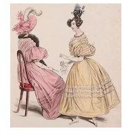 1830s La Mode Antique Fashion Plate Lot (2) New Mattes