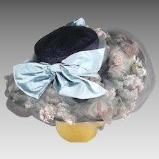 Enthralling 1930s Navy Blue Vintage Wide Brim Hat Pristine