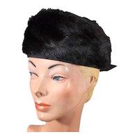 Plush 1960s Black Fur Vintage Beret Hat