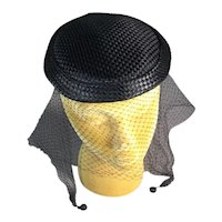 Elegant Close Fitting Vintage 40s-50s Black Satin Hat with Veil