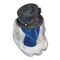 Outstanding Gage 1930s Black Top Hat Tilt Topper Vintage Hat with Veil