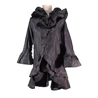 Exquisite Victorian Antique Black Silk Bed or Dressing Jacket Peignoir